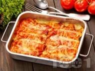 Канелони с кайма, доматен сос, топено сирене и кашкавал